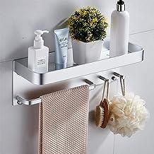 Ponsvrij opbergrek voor badkamer, aan de muur bevestigde ruimte aluminium multifunctioneel toiletbadkamer handdoekenrek, r...
