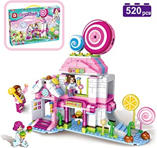 MONING.C Lollipop House Building Blocks Set Toys for Girls 520 Pieces Pink Dream House Sweets Shop Construction Bricks Education Assembly Toy Christmas Birthday Gift Kids Age 6 and Up