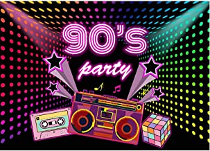 Allenjoy 7X5ft 90s Backdrop Shiny Disco Lights Hip Hop Banner Retro Radio Photography Background Music Theme 90's Adult Birthday Party Cake Table Decoration