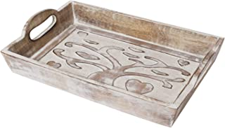 Father's Day Gifts Tree of Life Hand Carved Wooden Breakfast Serving Tray with Handle for Tea Snack Dessert Kitchen Dining Serve-ware Accessories 15 x 10 Inches