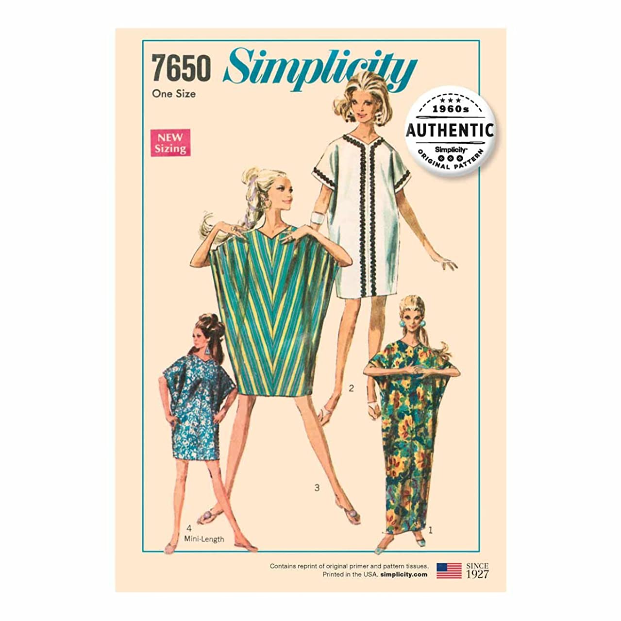 Simplicity Vintage UV7650OS Dresses, OS (ONE Size)