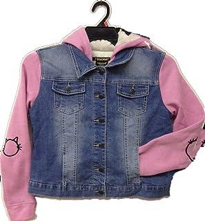 Vigoss Hooded Denim Jacket for Girls - Knit Hood & Sleeves