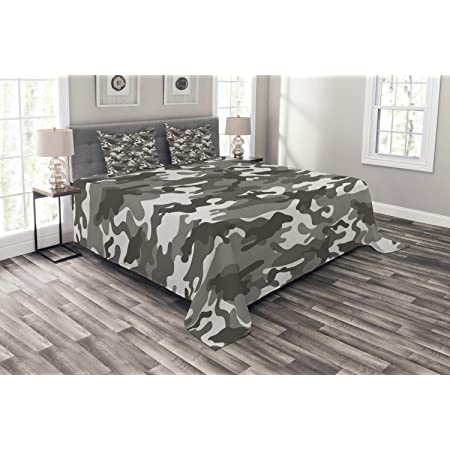 Ambesonne Camo Bedspread Camouflage Concept Concealment Artifice Hiding Force Uniform Pattern Fashion Decorative Quilted 3 Piece Coverlet Set With 2 Pillow Shams Queen Size Grey Black Home Kitchen