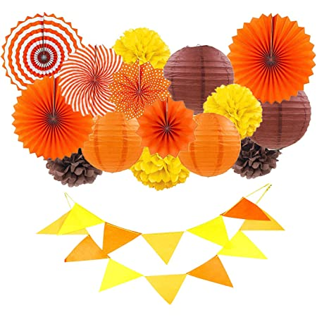Fall Party Decorations Kit Yellow Orange Brown Paper Hanging Fans Lanterns Flowers Pom Pom with 3D Butterfly Autumn Leaves Garland for Wedding Bridal Shower Birthday Halloween Thanksgiving Party D/écor