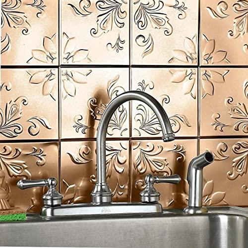 new arrival Self - Adhesive new arrival Decorative Copper high quality Embossed Floral Deign Tin Tiles - Set of 16 outlet sale