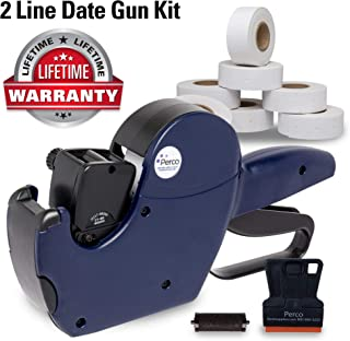 Perco 2 Line Date Gun Labeler Kit: Includes 16 Digits Label Gun, 10,500 White Labels, Inker Remover Tool, and Pre-Loaded Ink Roll