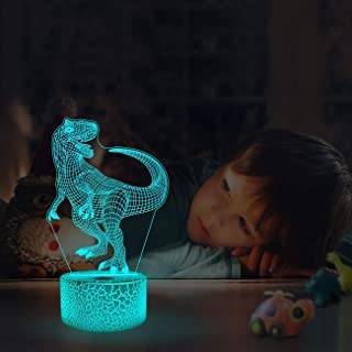 LED Dinosaur Night Light, Woffice 3D Illusion Touch &Remote Control Desk Lamp with Outlet Adapter, 7 Main Colors + 16 Gradient Colors Change, Best Birthday Christmas T-rex Gifts Toys for Kids Boys Gir