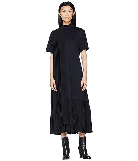 Jil Sander Navy Short Sleeve Dress Turtleneck and Plisst Details