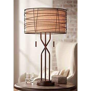 Sydney Mid Century Modern Table Lamp With Usb Charging Port Metal Drum Shade For Living Room Bedroom Bedside Nightstand Office Family Franklin Iron Works Amazon Com