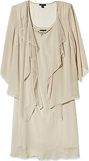 S.L. Fashions Women's Size Ls Hmc W Glitter Mesh Bead Neck Jacket Dress Plus