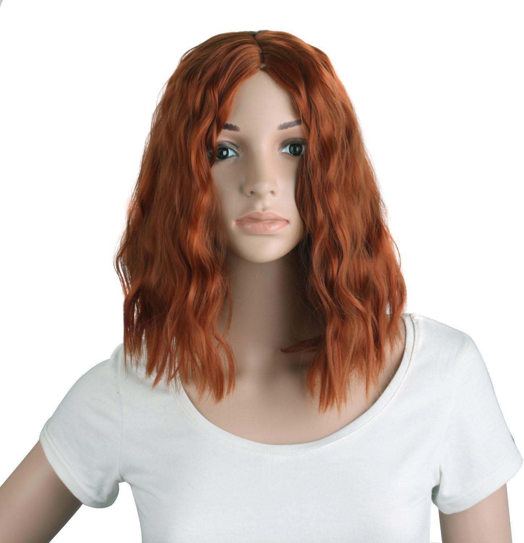 MapofBeauty - Peluca de pelo corto rizado con flequillo lateral, para cosplay y uso diario