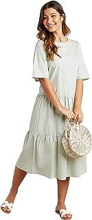 فستان سادة متوسط الطول مع اكمام قصيرة وقبة دائرية للنساء