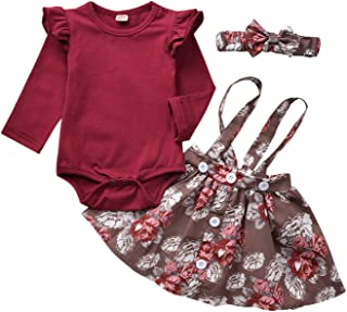 YOUNGER TREE Kids Toddler Baby Girls Fall Skirt Set Outfit Floral Leopard Ruffle Sleeve Romper Bodysuit+Strap Skirt Dresses Clothes