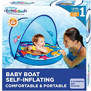Swimschool Self-Inflating, Unsinkable, Fabric Baby Boat, Zip-Off Retractable Canopy, Upf50, Adjustable Seat, Pool Float, 6...