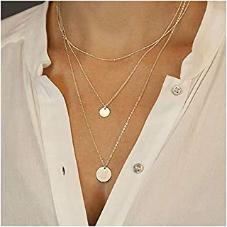Suecy Gold Layered Circle Neckalce 18K Gold Plated Dainty Circle Charm Handmade Necklace for Women