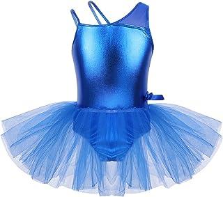 Freebily Vestido de Danza Ballet Niñas Infántil Maillots Tutú Gimnasia Ballet de Tirantes Un Hombro Leotardo Elástico Danza Traje Baile Actuación