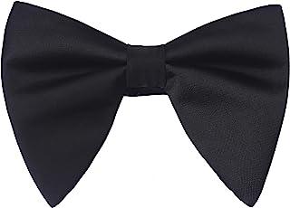 Lovacely Mens Satin Silk Handmade Bow Tie Solid Color Formal Tuxedo Big Bowtie