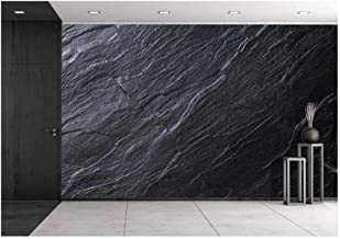 wall26 - Black Stone Background - Removable Wall Mural | Self-Adhesive Large Wallpaper - 100x144 inches