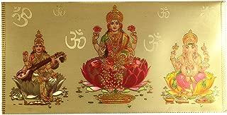 Hindu God Laxmi Ganesh Sarawasti Gold Colored Gift Envelope Card Money Holder - Pack of 2 - Wedding Anniversaries or Birthdays