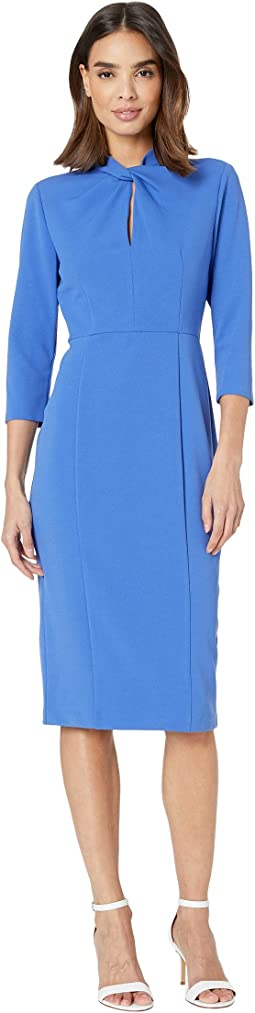 Twist Neck Crepe Sheath Dress