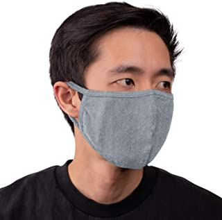 Aulin� Collection Made in USA Cotton Fabric Washable Reusable Filter Pocket Face Mask, Heather Gray 1 PK