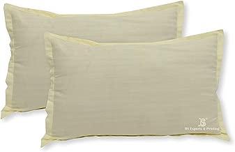 "BS EXPORTS Luxurious 210 TC Striped Cotton 2 Piece Pillow Cover Set - 18""x27""- Cream"