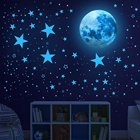 201 Counts with Sticky Pads Glow in The Dark Stars Non-Toxic Reusable Glow in The Dark Stars /& Moon for Starry Sky Amazing Room Decorations Parties Glow/in/The/Dark/Stars/for/Ceiling