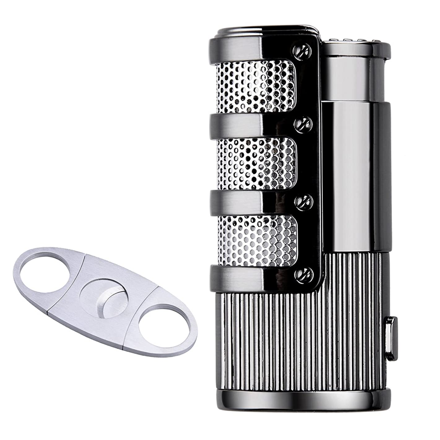 Gift Set Triple Jet Flame Cigarette Cigar Torch Lighter with Cigar Scissors, Silver+Black