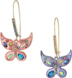Betsey Johnson - Colorful Butterfly Drop Earrings