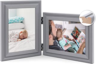 JD Concept Vertical Horizontal Combo, Double 7x5 Grey Wood Hinged Photo Frame, Desktop or Wall Mounted, Portrait and Lands...