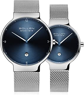 His and Hers Watch, Elegant 6.95mm Ultra-Thin Analog Waterproof Quartz Couple Watch,1 Pair Lovers' Watch SL-9015