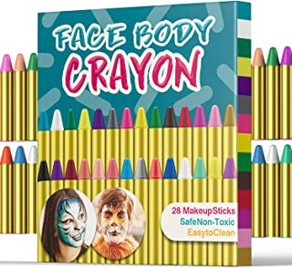 UNEEDE 28 Colors Face Paint Crayons Face Body Painting Sticks for Toddler, Children, Kids, Teens and Adult Easter Hallowee...
