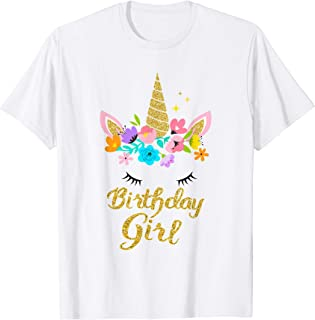 Unicorn Birthday Girl T-Shirt Gift Birthday Present For Girl