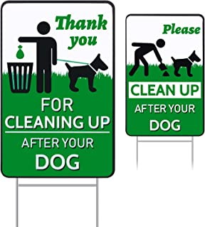 Skylety 2 Pieces Clean After Dog Yard Signs No Pooping Dog Lawn Signs 12 x 9 Inch Yard Sign Double Sided Printed Stakes wi...