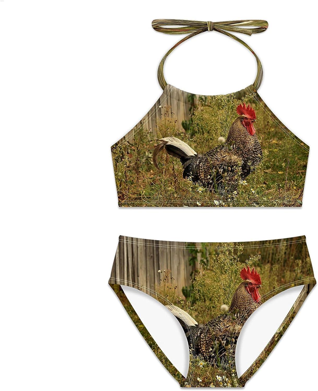 Girls Swimsuit Rooster Farm Chicken Bikini Bird Pieces Superlatite Max 76% OFF Set Two