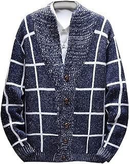 TIFENNY Men's Sweater Cardigan Fashion Knitted Cardigan Sweater Coat Plaid Print Winter Warm Sweaters Tops