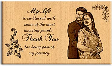 Incredible Gifts India Personalized Engraved Wooden Photo Plaque Gift for Couples (7 X 4 Inches, Brown)