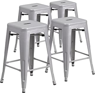 metal 24 counter stool silver