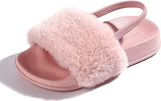 Girls Sandals Toddler, Faux Fur Slides with Elastic Back Strap Flats Shoes for Kids