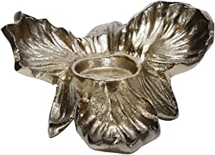 "Sagebrook Home 15259-01 METAL 8"" ORCHID TEALIGHT CANDLE HOLDER, GOLD, 8"" L x 6"" W x 4"" H"