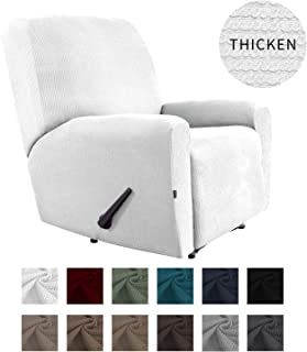 Easy-Going Thickened Recliner Stretch Slipcover, Sofa Cover, Furniture Protector with Elastic Bottom, 4 Pieces Couch Shield, Sturdy Fabric Slipcover, Pets,Kids,Children,Dog,Cat (Recliner,Snow White)