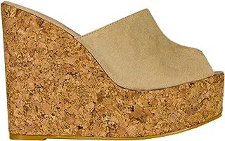 Womens Platform Wedge Sandals High Heel Slip on Peep Toe Cork Mules Slides