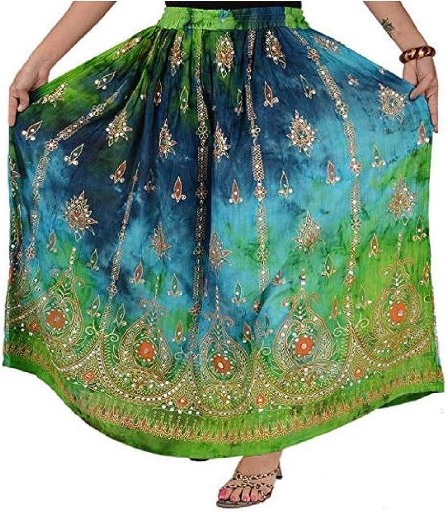 Sharvgun Women's Indian Sequin Crinkle Broomstick Gypsy Long Skirt Long Maxi Evening Beach Skirt