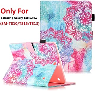 Samsung Galaxy Tab S2 9.7 (SM-T810 / T815 / T813) Case, YMH Magnetic Flip Folio Cute Auto Sleep/Wake Multi Angle Stand Pocket Wallet Case Cover PU Leather Case for Samsung Galaxy Tab S2 9.7 (01)