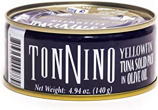 Tonnino - Gourmet - Low Calorie - Superior Taste - Gluten Free - Kosher - Yellowfin - Canned Premium Tuna - Olive Oil 4,94 ounce