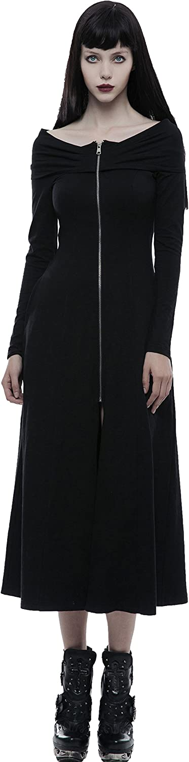 Punk Rave Black Gothic Vintage OffTheShoulder Zipper Long Sleeve Slim Daily Dress