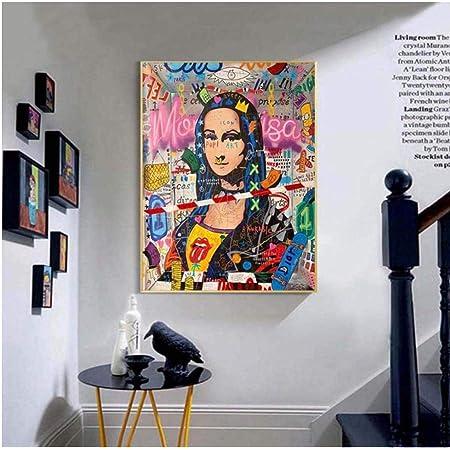 Motiv Mona Lisa Banksy XXL 100 cm x 75 cm Leinwand PopArt//Malerei//StreetArt//Bild