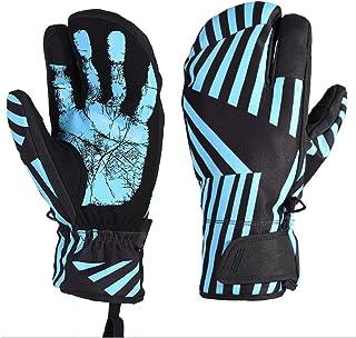 DIEBELLAU Women and Men's Winter Snowmobile Ski Gloves Girls Boys Waterproof Warm Gloves Snow Windproof Skiing Snowboard Gloves (Color : Blue, Size : S)