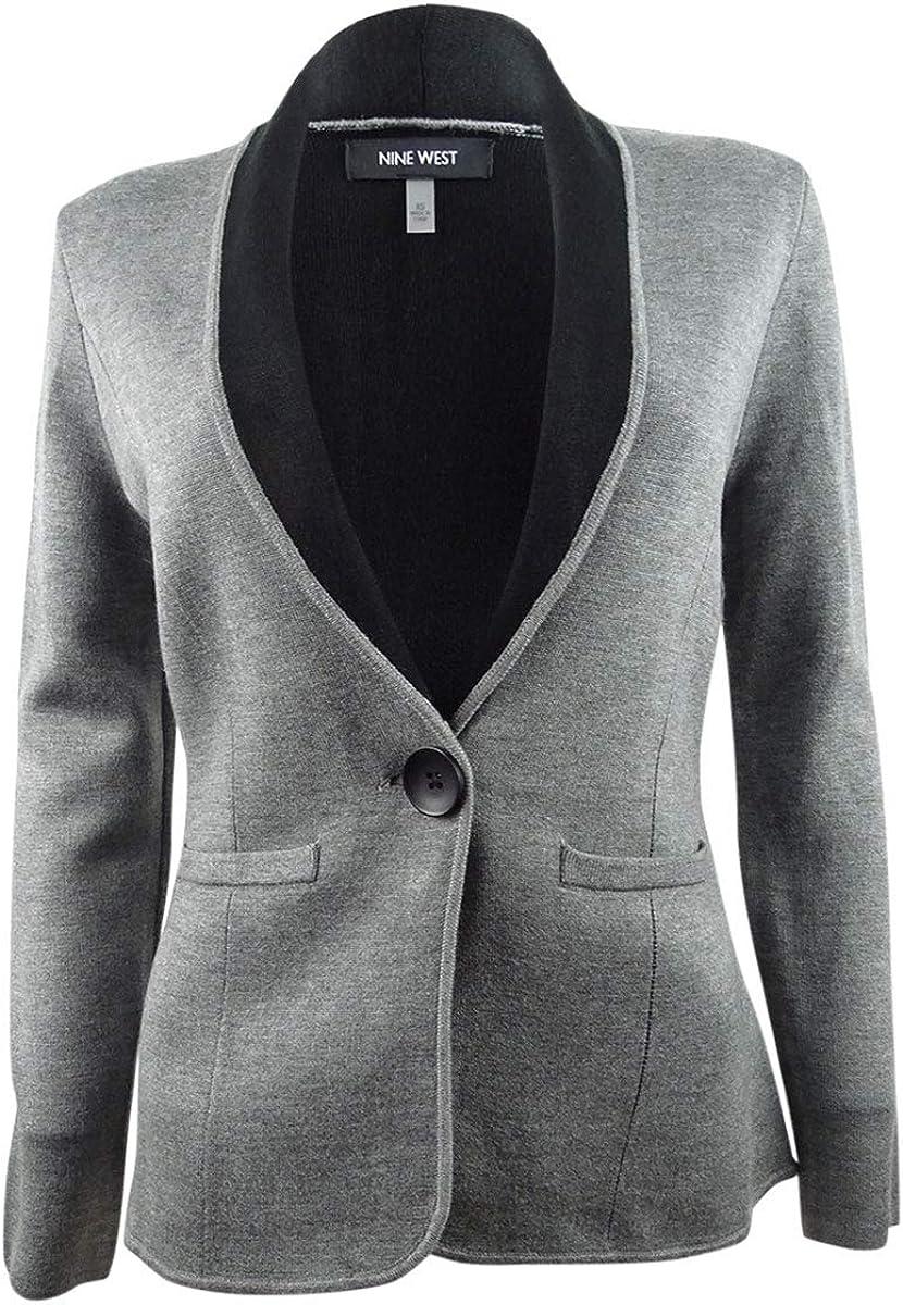 NINE WEST Women's One-Button Sweater Jacket (XS, Heather Grey/Black)