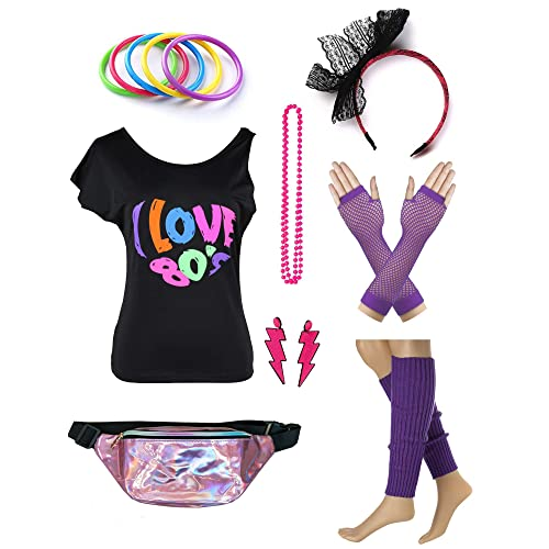 74d0d923 Womens 80s Accessories Set I Love The 80's T-Shirt with Neon Fanny Packs